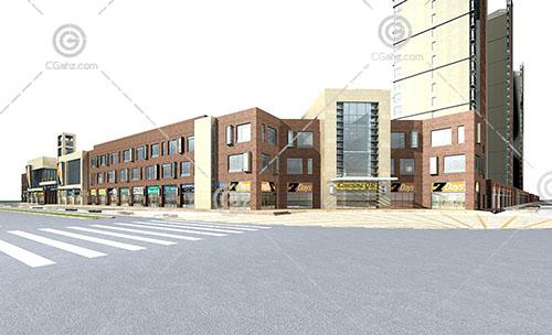 方形的商业街3D模型下载