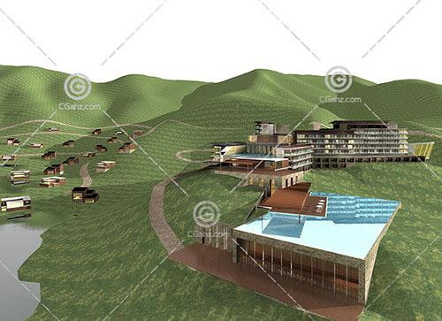 山里的度假酒店3D模型下载