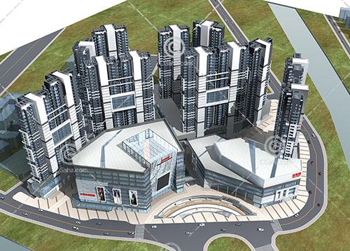 现代商业组综合体建筑群3D模型下载