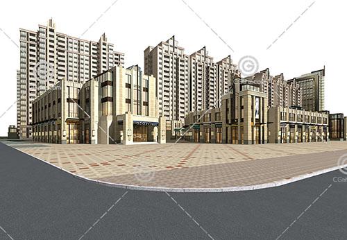 artdeco风格的商业街3D模型下载