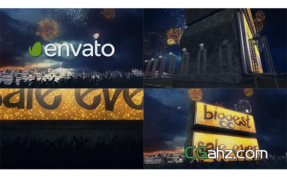 舞台上令人震撼的新年大屏幕AE模板