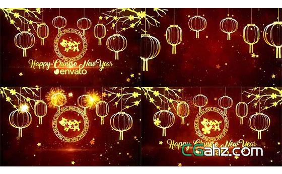 喜慶的中國新年豬年開場動畫AE模板
