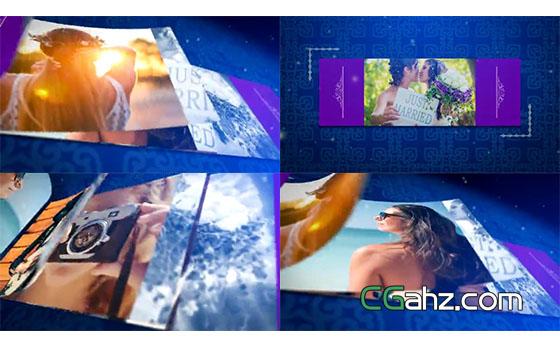 图像以优雅翻页展开的方式进行开场揭示AE模板
