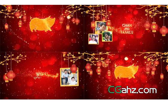 悬挂的大红灯笼送去新春佳节的祝福AE模板