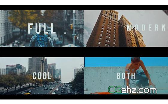 随音乐节点展示的动态城市宣传片AE模板