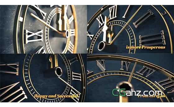 走动的三维质感时钟和新年倒计时AE模板