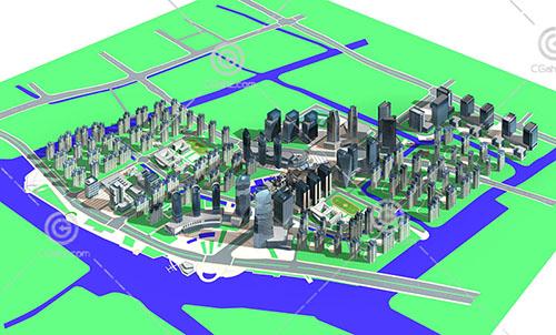 高层规划建筑群3D模型下载