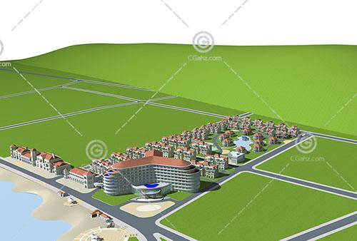 歐式住宅小區3D模型下載