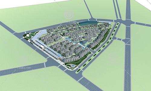 简洁奢华的现代多层住宅小区3D模型下载