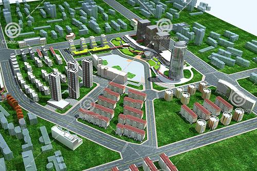 简单的现代高层多层组合住宅小区3D模型下载