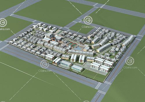 宿舍樓樣式的大型住宅區3D模型下載