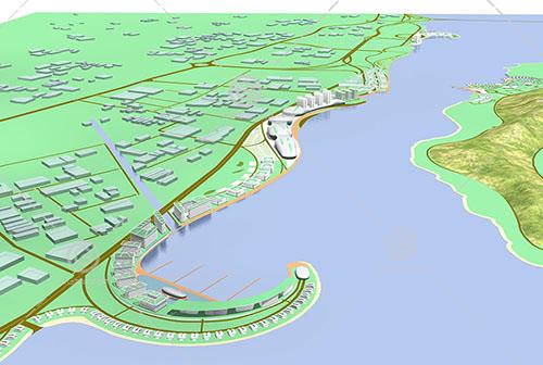 江边的大型规划用地3D模型下载