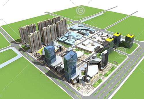高层住宅商业综合体3D模型下载