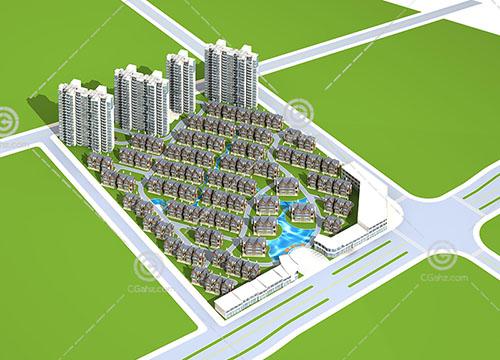 别墅群高层住宅混合模型下载
