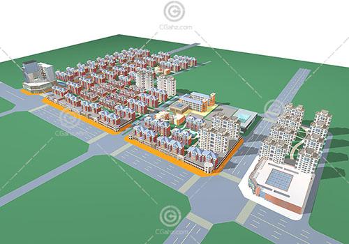 简单的欧式沿街住宅小区3D模型下载