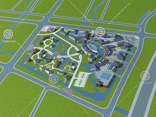 新中式的住宅小区3D模型下载