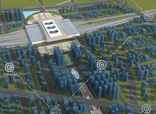 现代大型规划区3D模型下载