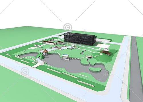 中式的公建规划区3D模型下载