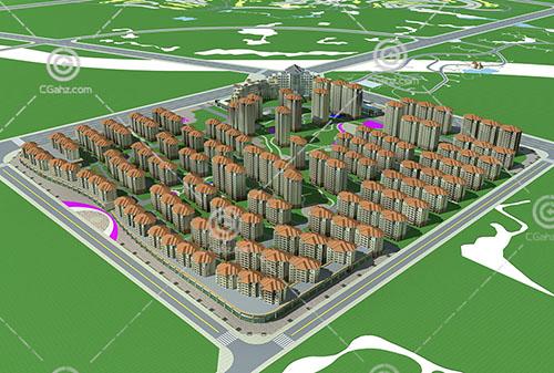 密集的欧式高层住宅小区3D模型下载