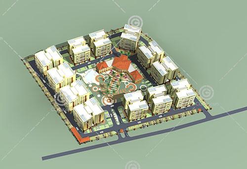 环绕式多层住宅3D模型下载