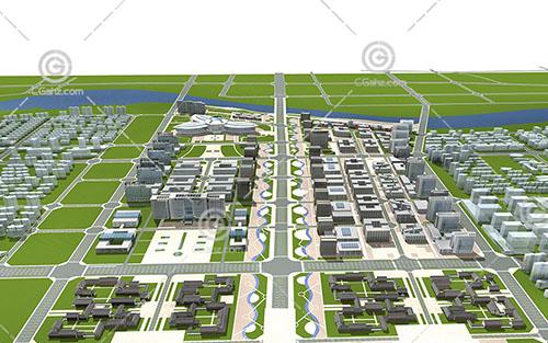 现代大型住宅区规划模型下载