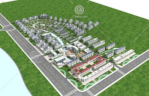欧式综合住宅区3D模型下载