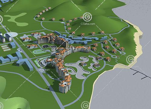 欧式多层住宅别墅组合3D模型下载