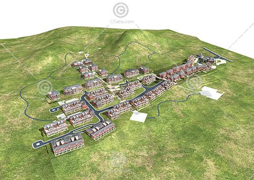 簡單的歐式聯排多層住宅3D模型下載