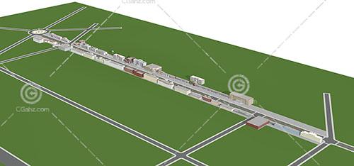 环岛附近的商业街3D模型下载