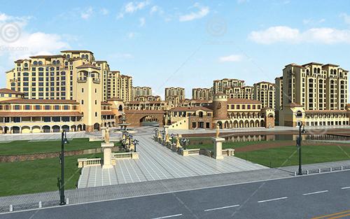 豪华的西班牙风格的高层住宅小区3D模型下载