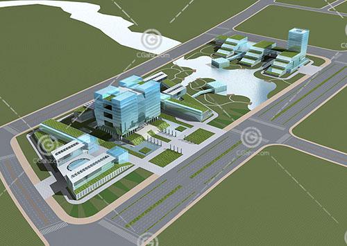 簡單的現代辦公規劃3D模型下載