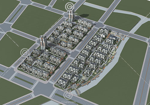 现代简单的多层住宅建筑模型下载