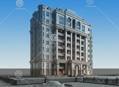 豪華的法式多層住宅3D模型下載
