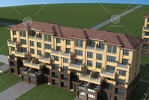 简单的欧式多层排屋3D模型下载