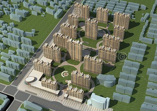 带有商业街的欧式多层住宅3D模型下载