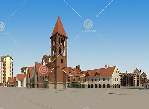 欧式多层住宅小区建筑模型下载