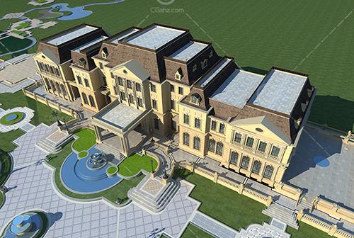豪华的法式庄园别墅3D模型下载