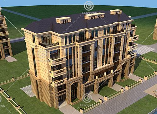 法式多层住宅3D模型下载