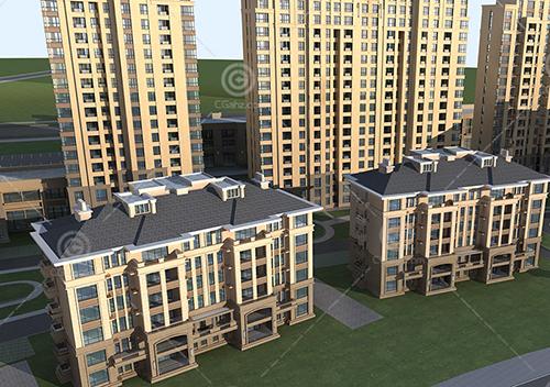 法式高层多层组合住宅小区3D模型下载