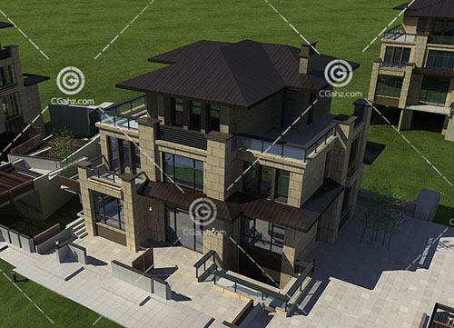 現代簡單的別墅建筑模型下載
