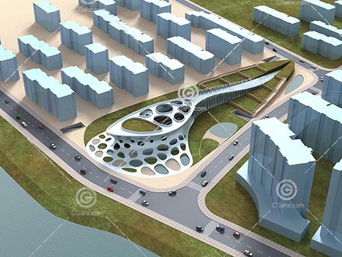 現代城市規劃片區3D模型下載
