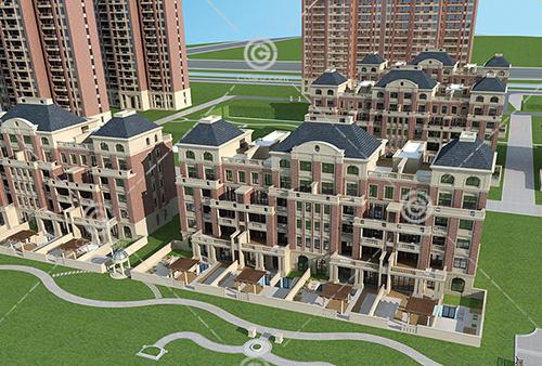 法式多层高层组合住宅小区3D模型下载
