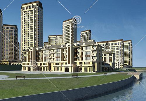 歐式的河邊高層多層組合住宅3D模型下載