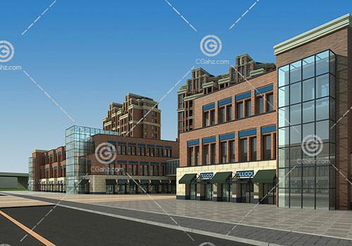 西班牙风格的高层住区建筑模型下载