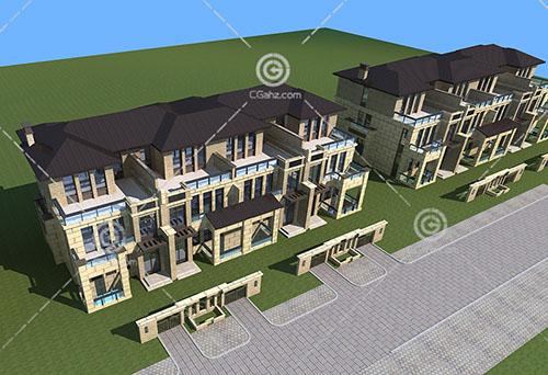 欧式多层排屋3D模型下载