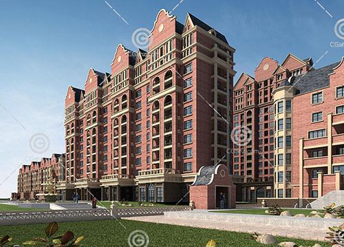 歐式的聯排多層住宅3D模型下載