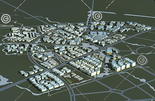 辦公建筑規劃區3D模型下載