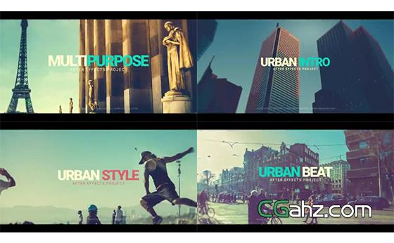 动感故障特效下的时尚城市宣传片AE模板