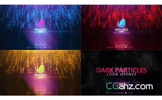黑暗中漂亮的粒子花火标志入场动画AE模板