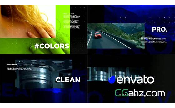 场景色彩可以改变的干净开场片头AE模板